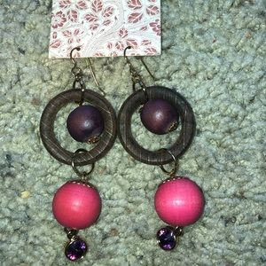 Urban Outfitters wooden ball drop Earrings NWT